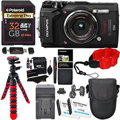 Olympus Tough TG-5 Digital Camera (Black), Polaroid 32GB Memory Card, 2 Spare Batteries, Charger, Ritz Gear Tripod, Camera Case and Accessory Bundle  Olympus TG-5 Waterproof Camera V104190BU000 RITZ CAMERA BUNDLE INCLUDES 12 ITEMS -- ALL BRAND NEW ITEMS WITH ALL MANUFACTURER-SUPPLIED ACCESSORIES + FULL USA WARRANTIES  New 12MP Hi-Speed Image Sensor for improved low light performance and noise reduction  Bright F2.0 high-speed Lens -- Dual Quad Core TruePic VIII Image Processor  Field s...