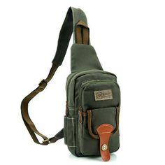 Portable Canvas Chest Bag Multi Pocket Crossbody Bag Casual Shoulder Bag  For Men 8357749ab4a00