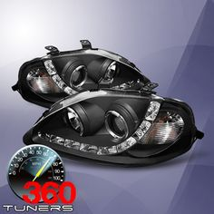 99-00 Honda Civic Halo Projector Headlights with LED, with Xenon HID Lighting System - Pair (Black with Amber Reflectors)