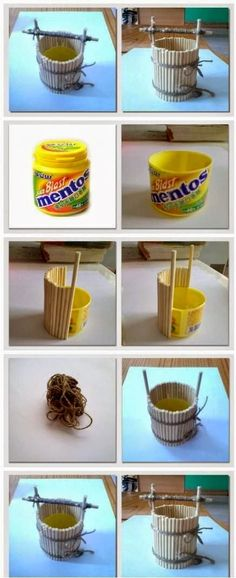 """How to make a wishing well out of a plastic container.  Elevate the cross bar and you could use it as a planter! Cute craft for a child (or the """"child"""" in all of us!)"""