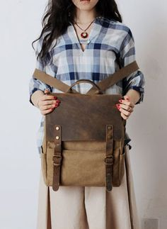 Canvas Leather Backpack / Casual Backpack / Rucksack / School Backpack