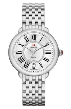 Michele 'Serein 16' Diamond Dial Round Watch Case, 34mm x 36mm