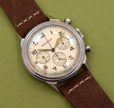 A 1950's vintage Movado 3 Register Chronograph. This stainless steel, 35mm wide timepiece features a patinated silver dial with luminous Arabic numerals, spade hands and a 17-jeweled, manual caliber CML 90 movement. (Store Inventory # 10008, listed at $4600).  #movado #chronograph #watch #vintage #watches #classic #stawc