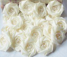 Wholesale Ivory Flower Rosette Bridal Flower Applique Rolled Rosette Flower Set of 25 on Etsy, $31.25