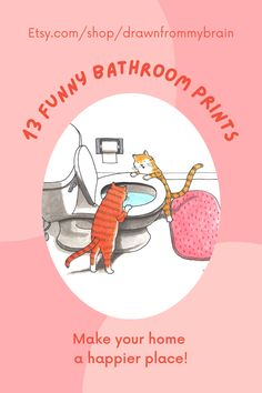 On average, we spend 2 hours a day in our bathrooms, so why not add some humor to yours with a funny art print or two? There's a full range of fun bathroom art ideas to choose from, including whimsical prints, weird art, and funny animal drawings. Your bathroom interior won't ever be the same! They're also great for birthday gifts, dorm decor, and funny cubicle decor at the office. #etsy #bathroomart #bathroomdecor #bathroomdetails #toilethumor
