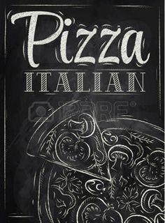 Cartel con la pizza y una rebanada de pizza con la inscripci�n pizza italiana estilizado dibujo con tiza en la pizarra photo