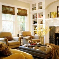 Beautiful warm colors for living room and great shelves.