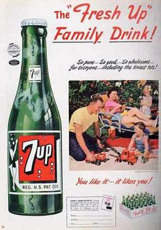 Vintage 7-Up Print Ad | Fresh Up Family Drink