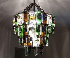 Beer Bottle Chandelier recycled-art
