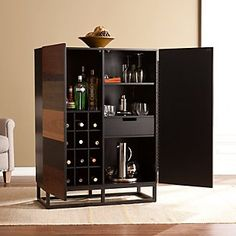 Wood Bar Cabinet, Modern Bar Cabinet, Cabinet Furniture, Bar Furniture, Tall Cabinet Storage, Cabinet Ideas, Cabinet Design, Counter Height Dining Table, Dining Room Bar