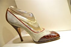 Marilyn Monroe's court shoe in crocodile and suede. Made between 1958- 1959 specifically for Ms. Monroe. Ferragamo museum @thebaghag