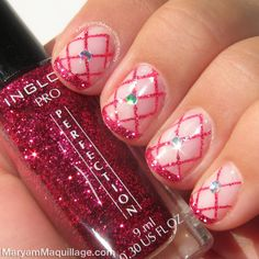 Glitter pink tipped and crosshatched #nails