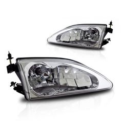 WinJet WJ10-0213-01 | 1995 Ford Mustang Chrome/Clear Euro Headlights for Coupe Auto Headlights, Car Lights, Custom Cars, Ford Mustang, Euro, Chrome, Trucks, Cutaway, Ford Mustangs