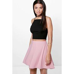 Boohoo Night Adana Full Soft Crepe Skater Skirt ($14) ❤ liked on Polyvore featuring skirts, dusky pink, midi skirt, midi skater skirt, midi circle skirt, white skirt and pink skater skirt