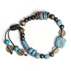 Blue Black and Antiqued Copper beads polymer clay beads bracelet, gypset, gypsy boho chic fashion