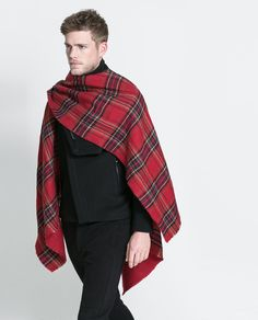 Loving this men's poncho from Zara Man...not for the sartorially-shy, but what a great overall look!