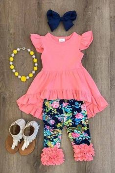 US Boutique Kids Baby Girls Vest Top Dress Flower Leggings Pants Outfits Clothes Baby Outfits, Outfits Niños, Little Girl Outfits, Little Girl Fashion, Baby Girl Dresses, Toddler Fashion, Toddler Outfits, Baby Dress, Kids Fashion