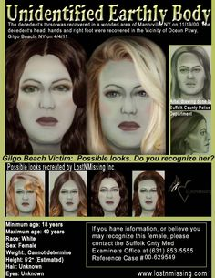 LostNMissing Unidentified Deceased Gilgo Beach Victim recovered April 4, 2011 and Nov. 19, 2000, Manorville, NY