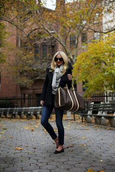 Preppy look w/ Louis Vuitton monogrammed weekender bag & Chanel flats #StreetStyle