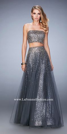 La Femme 22379 Glitzy Beaded Multi-Layer Two Piece Prom Gown For Women Beaded Prom Dress, Sequin Party Dress, Strapless Dress Formal, Formal Gowns, Formal Wear, Prom Dresses 2016, Prom Dresses For Sale, Prom Gowns, Ball Gowns