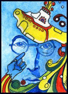 ACEO Original Painting - Lennon Beatles Yellow Submarine Pop Art - E.Delacruz | eBay