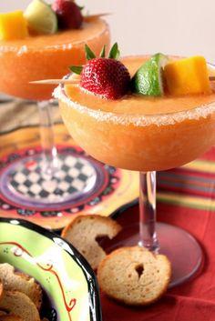 Frozen Mango Strawberry Margarita Recipe via Kudos Kitchen By Renee