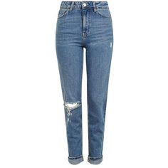 TopShop Moto Mid Blue Rip Mom Jeans ($74) ❤ liked on Polyvore featuring jeans, high waisted destroyed jeans, torn jeans, cuffed jeans, high rise jeans and ripped jeans