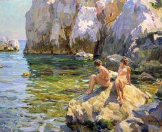 Yuri Krotov (b. Classic Paintings, Beautiful Paintings, Painting People, Figure Painting, Socialist Realism, Soviet Art, Naive Art, Russian Art, Beach Scenes