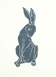 by JaneBeharrell, hare, woodcut, print, design, illustration, art, printmaking, blue, rabbit, nature, simple, lino, linocut