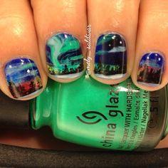Aurora Borealis Nail Art!!!