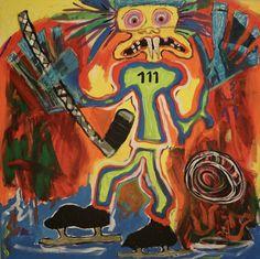 Hockey/Maarit Korhonen, acrylic, oil pastels, canvas, 73cm x 73 cm Dark Paintings, Original Paintings, Online Painting, Artwork Online, Dancer In The Dark, Autumn Painting, Original Art For Sale, Oil Pastels, Artists Like