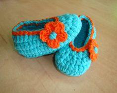Пинетки детские - детская обувь - детская обувь - балерина обувь - синие туфли - голубые пинетки - синий и оранжевый - вязание крючком обувь - вязание крючком пинетки