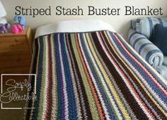 Take out those scraps and get busting with this Striped Stash Buster Blanket crochet pattern.