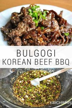 Bulgogi - Authentic Korean Beef BBQ Bulgogi – Korean Beef BBQ (불고기) is probably one of the best known Korean Beef BBQ dish and this authentic marinade recipe has been used in my family for over 25 years. Beef Bulgogi Recipe, Bulgogi Marinade, Meat Marinade, Korean Beef Recipes, Meat Recipes, Asian Recipes, Healthy Recipes, Korean Food, Chinese Food