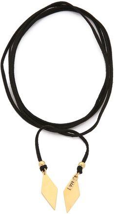 2 diamond-shaped charms accent the ends of this leather Vanessa Mooney wrap necklace. <ul> <li>Made in the USA.</li> <li>Measurements</li> <li>Length: 61.75in / 157cm, unwrapped</li> </ul>