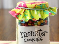 """I'm thinking that these """"Monster Cookies-in-a-Jar"""" (paired with a cute monster-themed pot holder or other kitchen gadget) would make great teacher, secret santa, other gifts"""