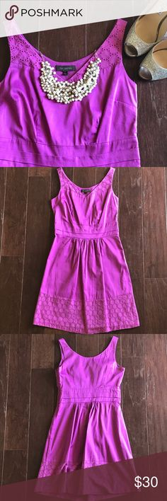 """⚡️SALE⚡️ Dress EUC purple / pink dress from The Limited. Dress features v-neck with crochet detail. Same detail incorporated into the bottom of the dress. Hidden size zipper closure. Dress does NOT have a lot of stretch to it - measurements can be found below. From a smoke free and pet free home. { sleeveless, excellent used condition, sundress, cotton, machine washable, summer }   💃Measurements (approximate; taken lying flat) Top to bottom: 35"""" Armpit to armpit: 16"""" Waist: 13.75"""" The…"""