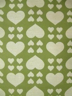 70s Vintage green hearts wallpaper pattern.