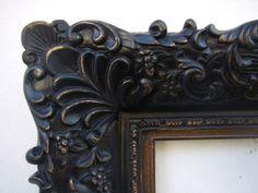 "T-256-BG (width 4 3/4"") Wide Black Gold Floral - Ready Made Frames - Ornate Black & Gold Frames - United Picture & Frame Company in Pasadena, California"