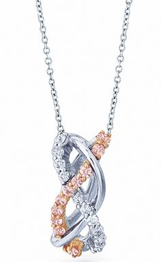 Diamond Pendant with white and rose gold by Ze