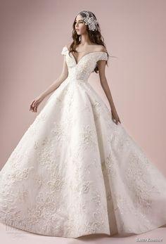 saiid kobeisy 2018 bridal off the shoulder v neck full embellishment romantic princess a  line wedding dress (3270) mv -- Saiid Kobeisy 2018 Wedding Dresses