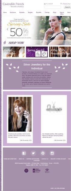 Cavendish French are a brand of high quality silver jewellery in the UK and abroad - tablet display