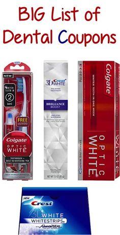 BIG List of Dental Coupons: $2.00 off 1 Colgate, $2.00 off 1 Crest + more!