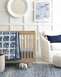 Serena and Lily nursery featuring square board and batten wall.