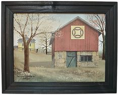 Double Wedding Ring Quilt Barn Framed -Spring - Kruenpeeper Creek Country Gifts
