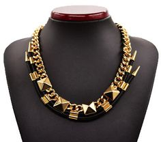 Leather Rivet Link Statement Necklace