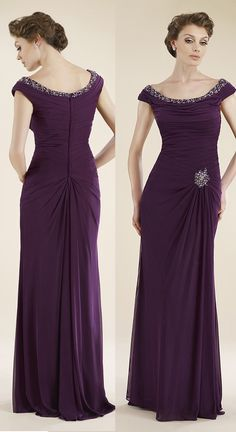 Sheath-Column Off The Shoulder Floor Length English Net Aubergine Sleeveless Zipper Mother Of The Bride Dress Beading Pleating 2106 #motherdresses #cocomelody