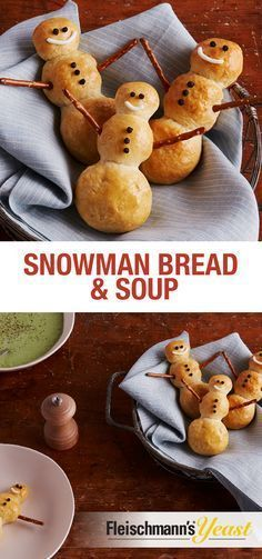 This easy and adorable Snowman Bread recipe is the perfect comfort food when paired with your favorite soup. Try it with Broccoli and Cheddar, Chicken and Wild Rice or Beef Barley. Holiday Treats, Christmas Treats, Christmas Baking, Holiday Recipes, Christmas Apps, Cute Food, Good Food, Yummy Food, Bread Soup