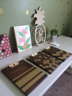 DIY wooden clipboards with gold