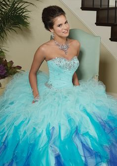 Long strapless pastel teal blue & purple ombre dress with silver crystal accents & ruffled tulle skirt from Vizcaya By Mori Lee (Style: 88013).